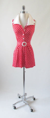 Vintage 70's Red Polka Dot Playsuit Shorts Romper W Matching Belt S