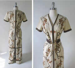 70's vintage alfred shaheen maxi dress gown cherry blossoms back
