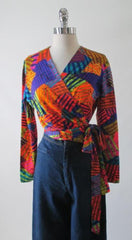 Vintage 70's Patchwork Wrap Top Blouse M / L - Bombshell Bettys Vintage