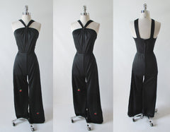 Vintage 70's Halter Black Jumpsuit Cherry Accent S - Bombshell Bettys Vintage