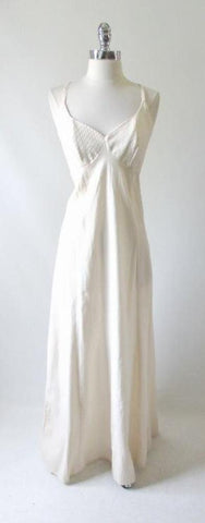 Vintage 70's Artisan Natural Halter Dress Maxi Gown M