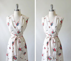 Vintage 70's Natural Cotton Red Blue Flower Day Dress M - Bombshell Bettys Vintage