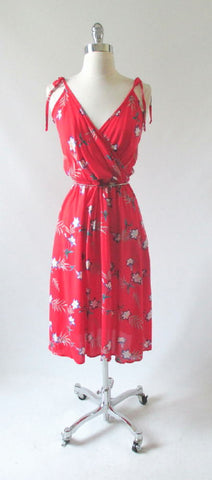 Vintage 70's Tropical Red Rayon Purple Floral Sundress Dress M