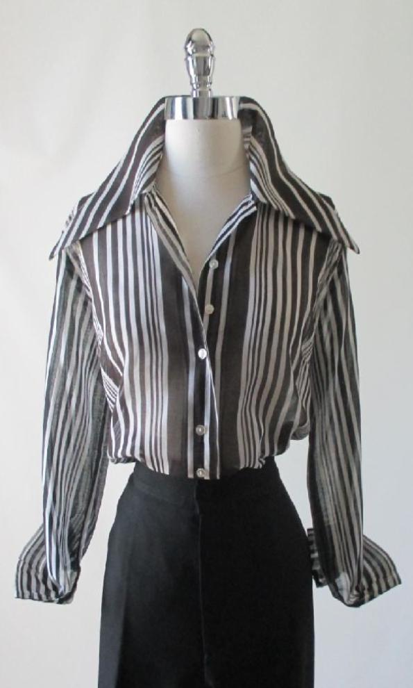 Vintage 70's Sheer Black White Blouse Top Wide Collar Classic Shirt L - Bombshell Bettys Vintage