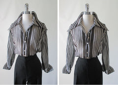 70's vintage classic sheer black white stripe disco era blouse top shirt full 2