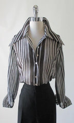 70's vintage classic sheer black white stripe disco era blouse top shirt gallery