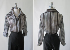 70's vintage classic sheer black white stripe disco era blouse top shirt back