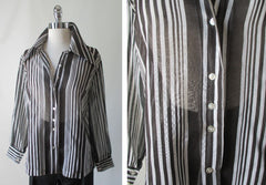 70's vintage classic sheer black white stripe disco era blouse top shirt detail