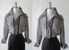 70's vintage classic sheer black white stripe disco era blouse top shirt full