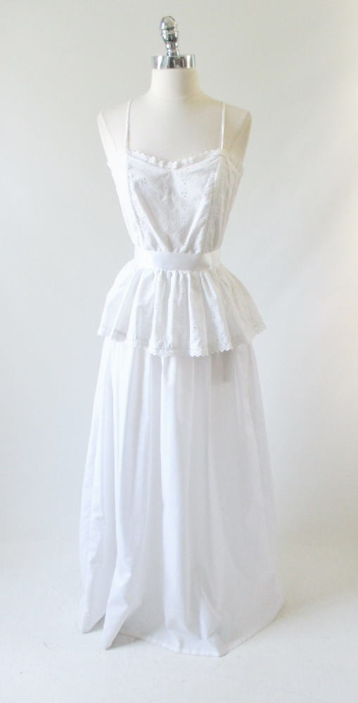 vintage 70's white eyelet maxi wedding dress gown floor length prarie country corset dress gallery