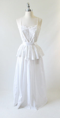 Vintage 70's White Eyelet Country Wedding Dress Full Length Sundress S