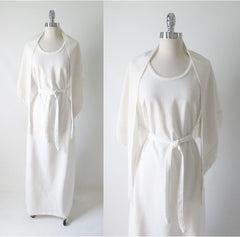 70's vintage white maxi dress gown wrap shawl gallery
