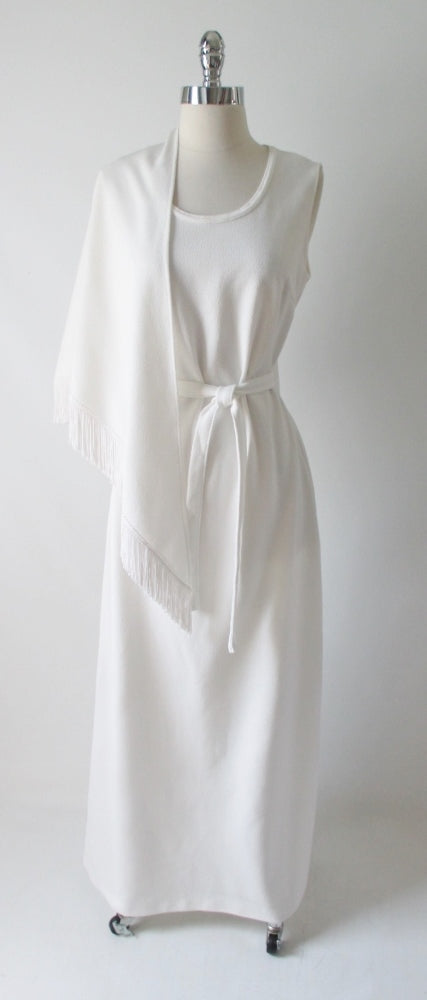 70's vintage white maxi dress gown wrap shawl side