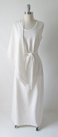Vintage 70's White Maxi Gown Matching Fringe Shawl Wrap L