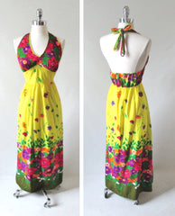 Vintage 70's Flower Power Halter Dress New Old Stock M - Bombshell Bettys Vintage
