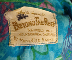 Rare Collectible Vintage Blue Beyond The Reef Floral Fan Print Hawaiian Shirt - Bombshell Bettys Vintage