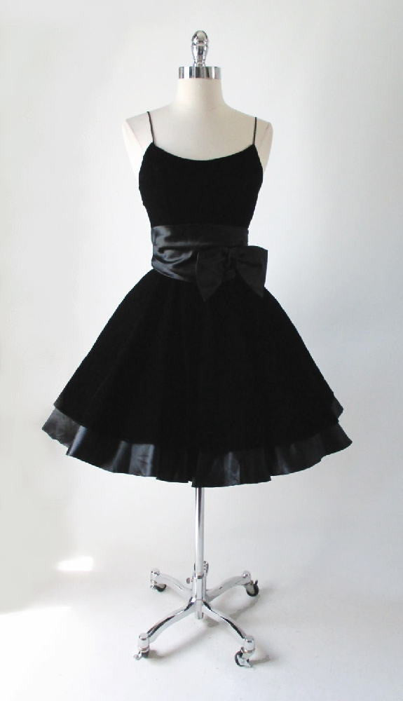 • New Old Stock Vintage 80's 50's Look Black Velvet Satin Bow Full Skirt Party Dress XS - Bombshell Bettys Vintage
