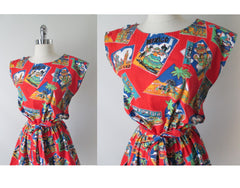 Vintage 80's Red Vacation Post Card Shorts Playsuit Romper - Bombshell Bettys Vintage