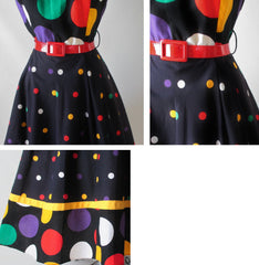 • Vintage 80's Black Polka Dot Full Skirt Halter Dress M - Bombshell Bettys Vintage