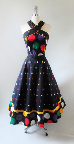 Vintage 80's Black Polka Dot Full Skirt Halter Dress M
