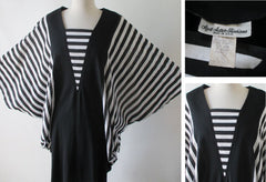 vintage 80's black white stripe batwing cocoon dress xl details