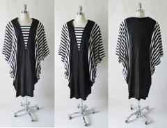 vintage 80's black white stripe batwing cocoon dress xl full