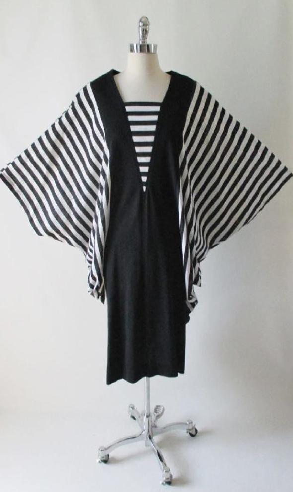 vintage 80's black white stripe batwing cocoon dress xl gallery