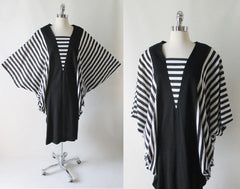 vintage 80's black white stripe batwing cocoon dress xl bodice