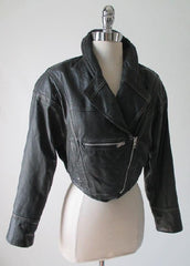 Vintage 80's Black Leather Jacket Cropped New Wave Origami Coat S - Bombshell Bettys Vintage