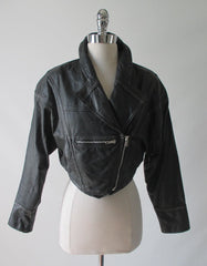 80's vintage cropped black leather new wave glam moto jacket front