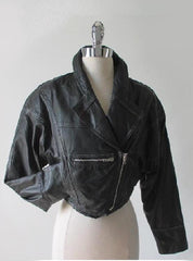 80's vintage cropped black leather new wave glam moto jacket gallery