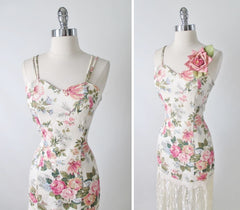 RESERVED • • • Vintage 80's Floral  Sheath Dress Lace Hem S - Bombshell Bettys Vintage