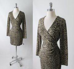 Vintage 80's Fredericks Soft Leopard Bodycon Dress M - Bombshell Bettys Vintage