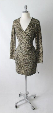Vintage 80's Fredericks Soft Leopard Bodycon Dress M