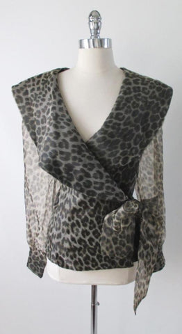 Vintage 80's Leopard Sheer Blouse Shirt Top With Bow XL XXL