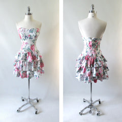 Vintage 80's 90's Garden Flowers Strapless Mini Dress XS - Bombshell Bettys Vintage