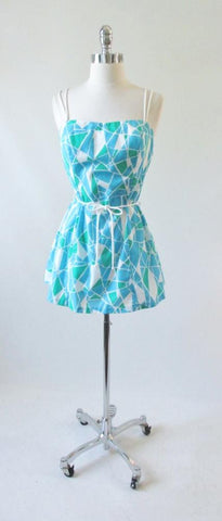 Vintage 80's Geometric Mini Dress Beach Cover Up L