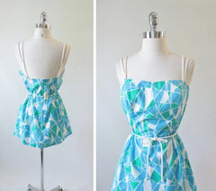 Vintage 80's Geometric Mini Dress Beach Cover Up L - Bombshell Bettys Vintage