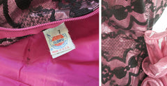 vintage 80's metallic pink black bow lace full skirt 50's style tea party strapless dress bombshell bettys vintage tag