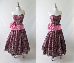 vintage 80's metallic pink black bow lace full skirt 50's style tea party strapless dress bombshell bettys vintage