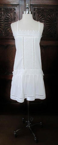 Vintage 80's White Eyelet Lace Pintuck Flapper Style Slip Dress