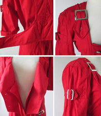 vintage 80's new wave karen alexander button buckle jumsuit details