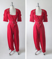 vintage 80's new wave karen alexander button buckle jumsuit full