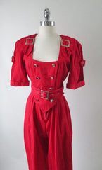 vintage 80's new wave karen alexander button buckle jumsuit bodice