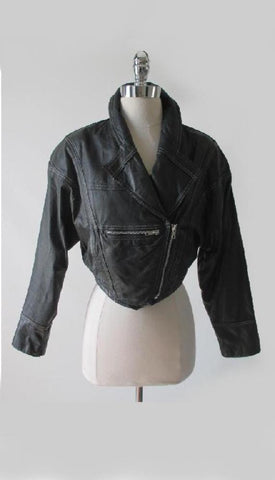 Vintage 80's Black Leather Jacket Cropped New Wave Origami Coat S
