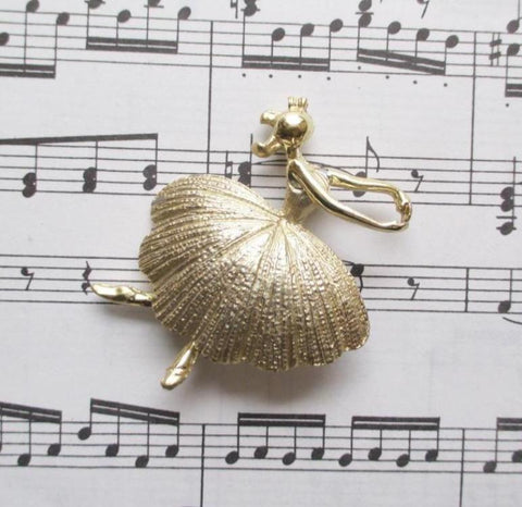 Vintage Ballerina Gold Brooch Pin