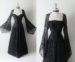 Spider Witch Dress Sheer Web Bell Sleeve Ball Gown Costume L - Bombshell Bettys Vintage