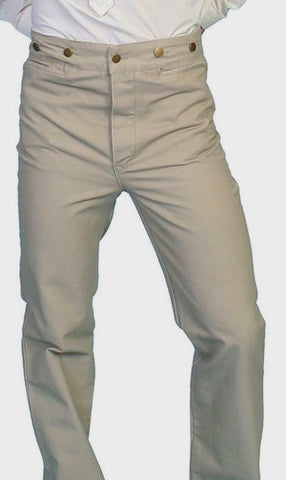 Men's Classic Old West Buckle Back Tan Trousers Pants 48