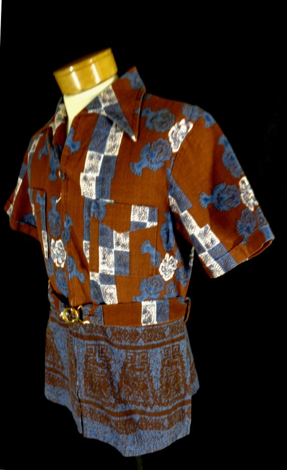 be0d6ee0 Rare Vintage Iolani Red Bark Cloth Zip Front Belted Tribal Print Hawaiian  Shirt - Bombshell Bettys