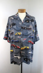 Mens 2003 50th Anniversary Corvette Hawaiian Style Rayon Shirt XL - Bombshell Bettys Vintage